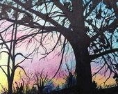 Winter Sunset 1.5.15 Watercolor and Ink Original