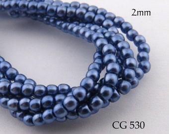 2mm Tiny Czech Glass Pearls Blue Grey Round (CG 530) 50pcs BlueEchoBeads