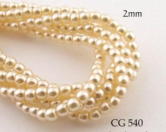 2mm Czech Glass Pearls Cream Round (CG 540) 50pcs BlueEchoBeads