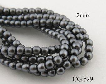 Tiny 2mm Czech Glass Pearls Charcoal Grey Round (CG 529) 50pcs BlueEchoBeads