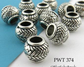 10mm Pewter Beads Large Hole Barrel Bead Zig Zag Pattern Bead (PWT 374) 8 pcs BlueEchoBeads