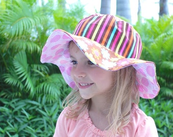 Travel sun hat, colorful uv sun protection hat with birds, reversible, wide brimmed sun hat for girls