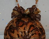 Quilted Ornaments Handmade Quilt Ball Ornaments Leopard Animal Print Snowflake Charm Beaded Hanger