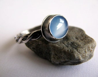Sterling Silver Agate Ring, Blue Agate Ring, Handmade Oval Gemstone Ring