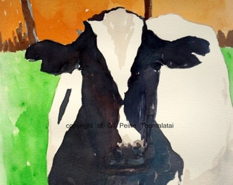 Cow PRINT of original watercolor painting 8.5 x 11 paper size cow in green field with fence cow art