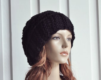 Hand Knit Hat Womens Hat Cable Beret Hat in Black Chunky Knit hat - ready to ship