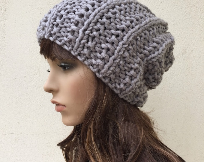 Hand Knit Chunky hat woman hat Grey