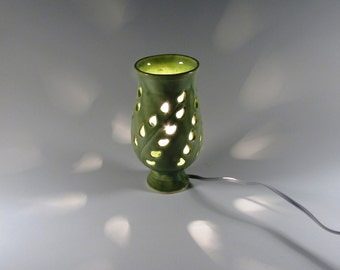 Ceramic Night Light - Luminary - Carved Leaves  -  Jade Green - Wheel thrown Lamp - Handmade Lamp - Stoneware Pottery