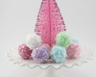 Snowball Ornaments Mini Set of 6 Your Choice of Colors Can be used as Bowl Fillers, Ornaments, Candy Land Decor, Photo Shoots 12 Legs Design