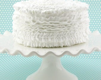 "Fake Ruffle Cake White Ruffle Cake Approx. 6.5""w x 4.5""h Fab Kitchen Decor, Smash Cake Prop, First Birthday, First Birthday Prop"