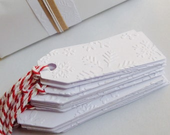 Snowflake Gift Tags x 12 Choose Your Ties - Bakers Twine or Plain White