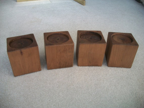 Set of 4 alder wood bed risers furniture blocks leg for Furniture risers
