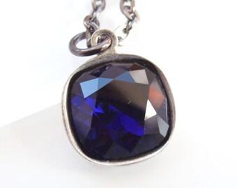 Ink blue crystal drop necklace on gunmetal - dark blue necklace - dark blue pendant - Swarovski crystal - crystal necklace