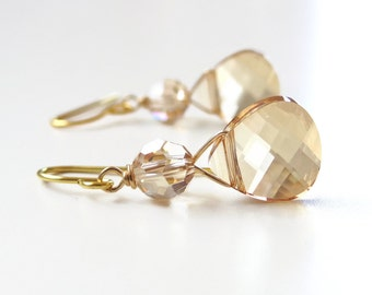 Gold crystal briolette earrings - created with Swarovski® crystals - crystal earrings - gold earrings - bridesmaid earrings