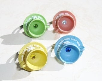 Kawaii Teacup Ring - Tea time in Europe Teacup You Pick the Color