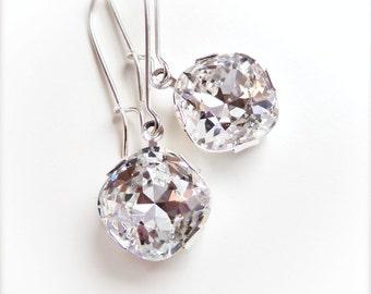 Clear crystal square cut earrings - cushion cut crystal - Swarovski crystal - crystal earrings - clear earrings