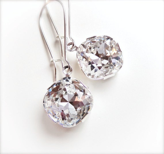 Clear Crystal Cushion Dangle Drop Earrings - Bridal - designed with SWAROVSKI® Crystals