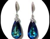 Something Blue Teal Bridal Earrings, Peacock Wedding, Swarovski Crystal Teardrop Dangle Earrings, ARIA
