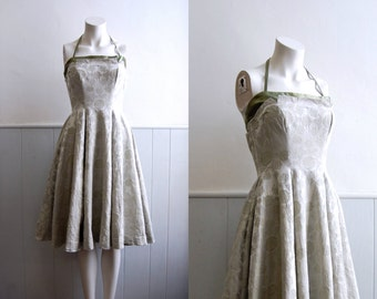 ON SALE - 1950s Pearl and Sage Brocade Halter Dress // Full Skirt Bridal // Small
