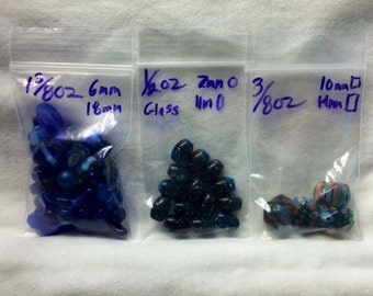 Specialty Blue Glass beads, Lot of assorted coordiating beads