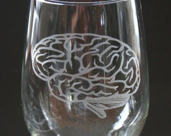 Brain Etched Wine Glass Engraved Brain
