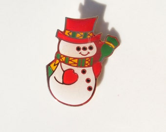 Christmas Winter Snowman Frosty Brooch HAT Pin Vintage xmas jewelry