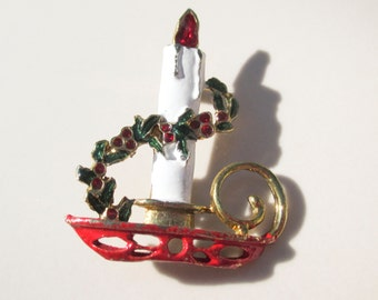 Christmas Holly Candle Stick Brooch Pin Vintage xmas jewelry