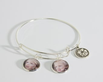 Silver plated bangle with family themed charm and photo charms
