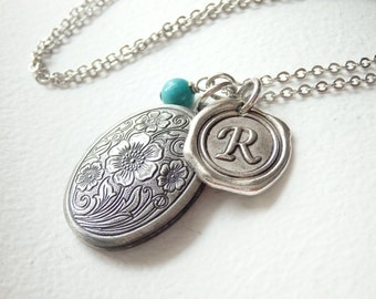 Vintage Style Oval Locket and Wax Seal Monogram Long Necklace