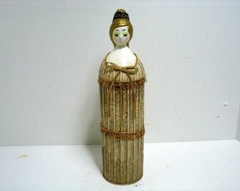 Vintage Lego Women Paper Mache Hairspray Can Bottle Cover Mid Century