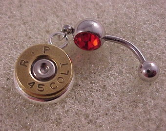 Belly Ring with 45 Colt Brass Bullet Charm