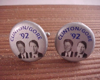 Clinton Gore Cuff Links - Vintage Political Campaign Buttons - Free Shipping to USA