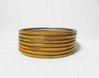 Set 7 Bangle Bracelets Brass  Inlaid Skinny Vibrant  Orange Yellow