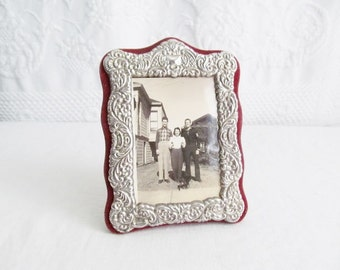 Ornate Silver Repousse Picture Photo Frame Red Velvet