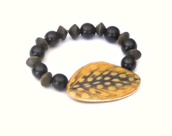 Feather on Nangka Wood Wing Stretch Bracelet with Black Ebony and Graywood Wood Beads yellow grey gray natural earthy boho rustic chic