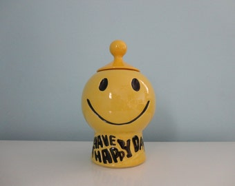 VINTAGE 1970s mccoy 'have a happy day' COOKIE JAR
