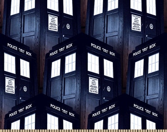 Dr Who Tardis Cotton Fabric 1 yd