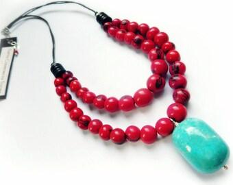 Acai & Turquoise Necklace /  Amazon Red