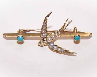"""ANTIQUE EDWARDIAN 14K Gold, Natural Pearl & Persian Turquoise """"Swallow"""" Pin/Brooch"""