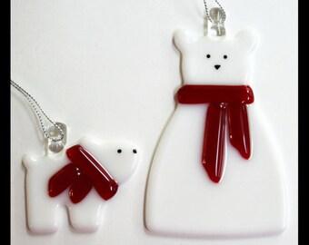 Glassworks Northwest - Polar Bear Mom and Baby Set - Fused Glass Ornament