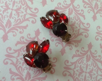 Vintage Rhinestone Clip Earrings with Ruby Red and Clear rhinestones holiday