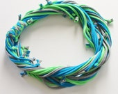 T Shirt Scarf - Infinity Circle Scarves Recycled Cotton - Lime Green Electric Blue Turquoise Gray Grey Silver Bright Neon