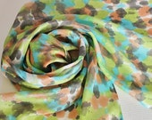 Hand Painted Silk Scarf - Handpainted Scarves Lime Green Peach Chartreuse Orange Black Turquoise Aqua Blue White Tie Dye Dyed