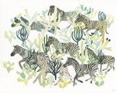 Zebra Herd and Cactus - Archival print