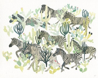 Zebra Herd and Cactus - Larger Archival print