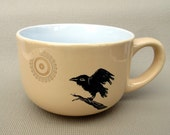Happy Crow or Raven Soup Mug Ceramic Coffee Cup