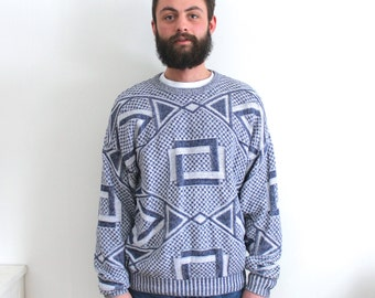vintage GEOMETRIC sweater. LG/XL