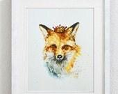 Fox print, Fox with Crown, Animal with Crown, fox wall art, cute fox, foxy art