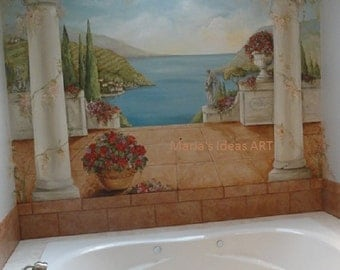 Estimate for masterbath wall murals, hand painted murals, Pittsburgh muralist, Custom Murals,   Master bath decoration, custom canvas mural