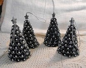 Reserved 1 BLACK & SILVER Scallop Shell Trees, Silver Beads Sparkly Glitter Top Star, Textured Sculpted Ornaments Shelf Sitter Table Accent